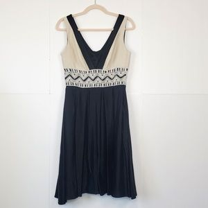 Anthropologie Burlapp Black & Cream V-Neck Dress